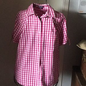 Hot Pink and White Check Blouse size 14W